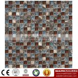 IMARK Mixed Color Crystal Glass Mosaic Tiles Mix Marble Mosaic Tiles 15*15mm for Wall Decoration Code IXGM8-111