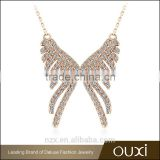 OUXI 2016 top quality latest design 18k gold plated Angel Wing Gift Austria crystal necklace jewelry 11501