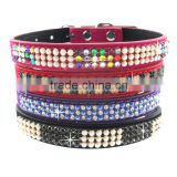 Puppy Cat Collars Western Fashion Colorful Rhinestone Genuine Leather Personalised Dog Collars