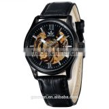 full black genuine leather strap men automatic business watch gold skeleton wristwatches
