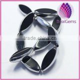 Bead silver-plated glass black 30x12mm flat oval