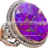 Purple Copper Turquoise Multi Colored Stone Jewellery Designs With Silver Gemstone Jewelry Rings