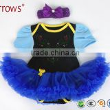 2Pcs Per Set Infant Girls Princess Outfit Baby Girls Bodysuit with Headband for 0-12Months