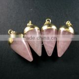 15x30mm water drop shape gold plated pink rose quartz power stone pendant charm DIY supplies 1850206