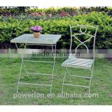 Antique green square table patio set folding iron metal garden furniture coffe bistro set