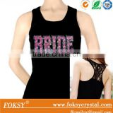 bride lace Rhinestone hotfix iron on transfer tank tops wholesale