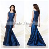 navy blue long lace scoop neckline sexy night dress for women