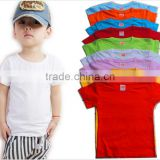 Manufactuer Hot sales pure cotton kids t shirt 9 colors blank t-shirts