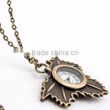 Retro design Maple Leaf Open Faced Pocket Watch Pendant Necklace