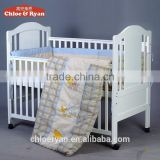 New arrival baby cots healthy durable solid wood adult baby bed with soft cushion