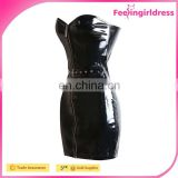 New Design Women PVC leather Sexy Black Tight Faux Leather Bandage Pencil Dresses Summer Front Zipper