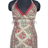 Indian Vintage silk fabric tank ladies top , printed ladies top , ladies beautiful silk fabric top