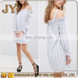 Blue and White Stripe Woven Dress Square Neck Cold-shoulder Design with Stretch Frill Trims Wholesale Items