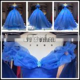 2017 Blue Ball Gown Bridal For Party Luxury Organza Off-Shoulder Wedding Dress Tiamero 1A150