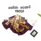 Fashion Women's Satin Scarf, Good Texture, Printed Hijab, Polyester square Scarf
