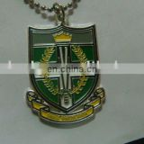 China factory custom make school metal tag, brass soft enamel school badge name tag, pendent