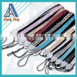 Leather hand rhinestone cell phone strap for promotion
