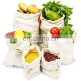 Reusable Cotton Grocery Produce Bags, Washable Premium Eco Friendly Bags With Drawstring, Canvas Muslin Vegetable bag