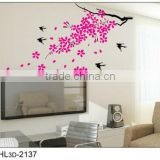 Pink Flower Wintersweet Lovely Swallow Tree TV Background PVC Home Decorative Wall Stickers