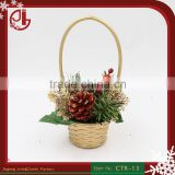 Gold Flower Basket With Artificial Tree Pine Pendant Christmas Gift For Party Decoration