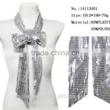 2016 silver sequins bow tie scarf for bride wedding dress spring cloth necktie scarf