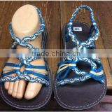 2d4ba9d1db3fd2 ... African  Dobbytex DBTS27 Blue-White Twist Handmade rope Sandals Shoes  Hill tribe   Hmong