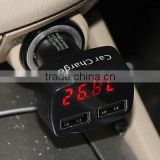 USB car charger thermometer protable car volt meter