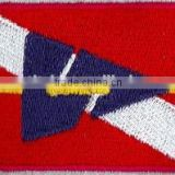 Cheap wholesale flag shape iron on custom hat or t shirts embroidery patches