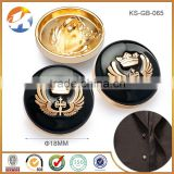 Alloy Black And Gold Custom Sewing Buttons, Designer Suit Buttons, Metal Carbibe Buttons For Sales
