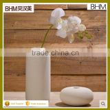 Matt cylinder round table pot set ceramic white and grey vase with artificial orchid flower
