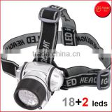 18+2 LED Headlamp for Camping, Running, Hiking, Reading, 4 Modes, Battery Powered Helmet Light, Hands-free Head light