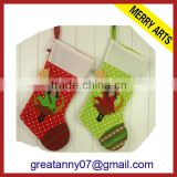 2015 new product Guangzhou designer fleece christmas stockings embroidery christmas stockings wholesale