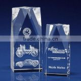 Wholesale custom 3d laser engraving prism clear crystal glass cube blank for gift items