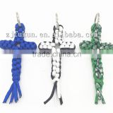 Paracord Christmas Ornaments Cross Religious Paracord Keychain Custom Colorful Christmas Ornaments
