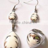 set006 hot sale high quality stainless steel white enamel ring,earring,pendant jewelry set