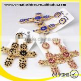 zhejiang mix colors rhinestone long large cross earring
