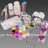 18 Colors Acrylic Color Powder With French Nail Tips / Brush / Glitter Manicure Full Set HN1089