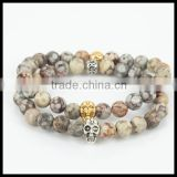 kjl-cst 127 Charm silver/gold plated skull head men bracelet natural medical agate round stone beads women bracelet