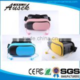 New Pink/Blue/Yellow getd 3d glasses vr box with earphone and BT remote controller Game Consoles