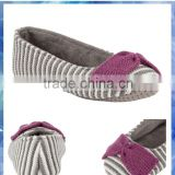 grey and cream stripe knitted Ballet Slippers for women