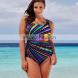 Wholesale 2016 Summer Fashion Woman Swimwear Women Rainbow Multi Color Stripe Printing Square Neck Sexy One Piece Swimsuit
