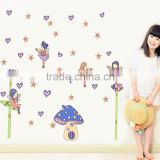New Cartoon Vinyl Wall Stickers Home Decor Fairy and Mushroom House Wall Decals Mural Art Nursery Kids Room JM8332