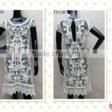 embroidery cotton lace open back long sleeved for ladies