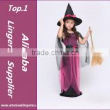 Beautiful Girls witch Halloween Costume with hat fairy Fancy Dress Up for Kids Childrens cosplay costume kids festival costumes