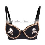 GaGa Womens Hot Sexy Gold Silver Tone Metallic Gathers Punk Spike Studs Rivet Bra Push Up Bra Stage Show