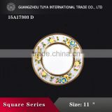 Royal hotel restaurant bone china with gold rim charger plate colorful decoration