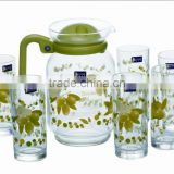 New popular high quality heat transfer printed glass water set wholesale 7 pcs glass water jug set