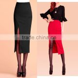 Elegant Women High Waist Side Bottom Split Bodycon Pencil Midi Skirt