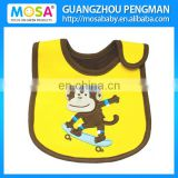 100% Cotton Embroidered Monkey Baby Bibs for Boys Waterproof