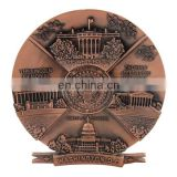custom antique brass design own souvenir metal plate with us building